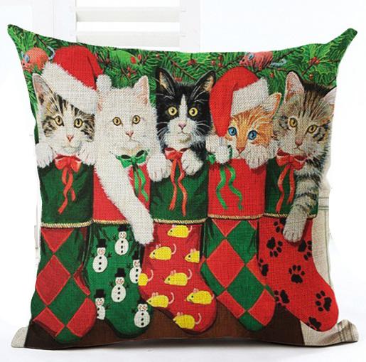 katze kissen weihnachten zierkissen haustierbedarf shop. Black Bedroom Furniture Sets. Home Design Ideas