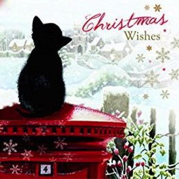 weihnachtskarte christmas kitten christmas wishes. Black Bedroom Furniture Sets. Home Design Ideas